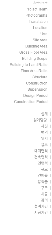 Architect | Project Team | Photographs | Translation | Location | Use | Site Area | Building Area | Gross Floor Area | Building Scope | Building-to-Land Ratio | Floor Area Ratio | Structure | Construction | Supervision | Design Period | Construction Period | 설계 | 설계담당 | 사진 | 번역 | 위치 | 용도 | 대지면적 | 건축면적 | 연면적 | 규모 | 건폐율 | 용적률 | 구조 | 시공 | 감리 | 설계기간 | 시공기간 |
