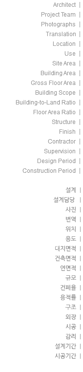Architect | Project Team | Photographs | Translation | Location | Use | Site Area | Building Area | Gross Floor Area | Building Scope | Building-to-Land Ratio | Floor Area Ratio | Structure | Finish | Contractor | Supervision | Design Period | Construction Period | 설계 | 설계담당 | 사진 | 번역 | 위치 | 용도 | 대지면적 | 건축면적 | 연면적 | 규모 | 건폐율 | 용적률 | 구조 | 외장 | 시공 | 감리 | 설계기간 | 시공기간 |
