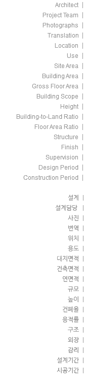 Architect | Project Team | Photographs | Translation | Location | Use | Site Area | Building Area | Gross Floor Area | Building Scope | Height | Building-to-Land Ratio | Floor Area Ratio | Structure | Finish | Supervision | Design Period | Construction Period | 설계 | 설계담당 | 사진 | 번역 | 위치 | 용도 | 대지면적 | 건축면적 | 연면적 | 규모 | 높이 | 건폐율 | 용적률 | 구조 | 외장 | 감리 | 설계기간 | 시공기간 |
