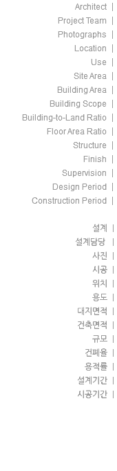 Architect | Project Team | Photographs | Location | Use | Site Area | Building Area | Building Scope | Building-to-Land Ratio | Floor Area Ratio | Structure | Finish | Supervision | Design Period | Construction Period | 설계 | 설계담당 | 사진 | 시공 | 위치 | 용도 | 대지면적 | 건축면적 | 규모 | 건폐율 | 용적률 | 설계기간 | 시공기간 |