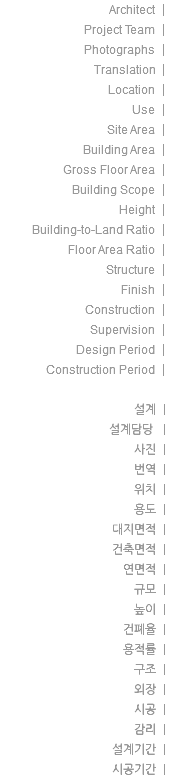 Architect | Project Team | Photographs | Translation | Location | Use | Site Area | Building Area | Gross Floor Area | Building Scope | Height | Building-to-Land Ratio | Floor Area Ratio | Structure | Finish | Construction | Supervision | Design Period | Construction Period | 설계 | 설계담당 | 사진 | 번역 | 위치 | 용도 | 대지면적 | 건축면적 | 연면적 | 규모 | 높이 | 건폐율 | 용적률 | 구조 | 외장 | 시공 | 감리 | 설계기간 | 시공기간 |
