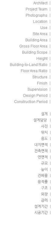 Architect | Project Team | Photographs | Location | Use | Site Area | Building Area | Gross Floor Area | Building Scope | Height | Building-to-Land Ratio | Floor Area Ratio | Structure | Finish | Supervision | Design Period | Construction Period | 설계 | 설계담당 | 사진 | 위치 | 용도 | 대지면적 | 건축면적 | 연면적 | 규모 | 높이 | 건폐율 | 용적률 | 구조 | 외장 | 감리 | 설계기간 | 시공기간 |