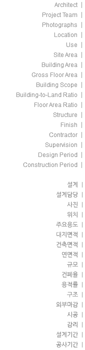 Architect | Project Team | Photographs | Location | Use | Site Area | Building Area | Gross Floor Area | Building Scope | Building-to-Land Ratio | Floor Area Ratio | Structure | Finish | Contractor | Supervision | Design Period | Construction Period | 설계 | 설계담당 | 사진 | 위치 | 주요용도 | 대지면적 | 건축면적 | 연면적 | 규모 | 건폐율 | 용적률 | 구조 | 외부마감 | 시공 | 감리 | 설계기간 | 공사기간 |